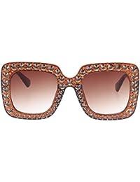 Demiawaking Occhiali da Sole Donna a Specchio Occhio di Gatto Occhiali con strass Retro Oversize