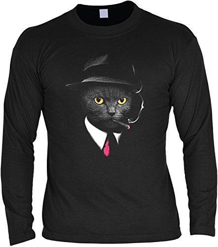 Pop Art ::: Agent Cat ::: Longshirt für Katzenliebhaber Schwarz