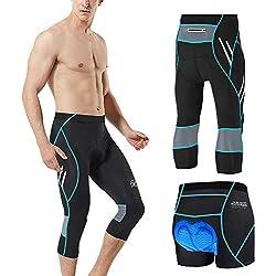 MEETWEE Cyclisme Pantalons 3/4 Homme, Vélo Corsaires Respirant 3D Gel Silicone Long Bike Compression Leggings Cycliste Pantalon de Vélo Pantalon (Bleu, M)