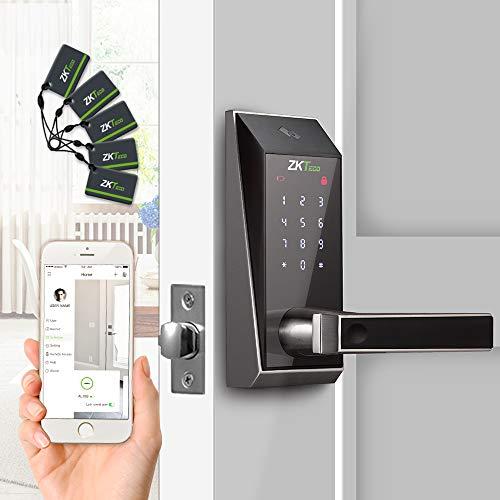 ZKTeco Keyless Bluetooth Schlösser Digital Tastatur Türschloss Elektronische Schlösser Smart Home Entry + 5 Stück RFID-Karten (Zink-Legierung)