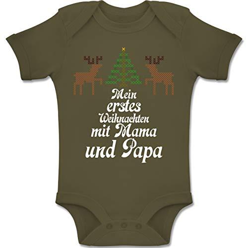 Shirtracer Weihnachten Baby - Ugly Sweater - Mein erstes Weinachten - 1-3 Monate - Olivgrün - BZ10 - Baby Body Kurzarm Jungen Mädchen (Ugly Sweater Ideen Xmas)
