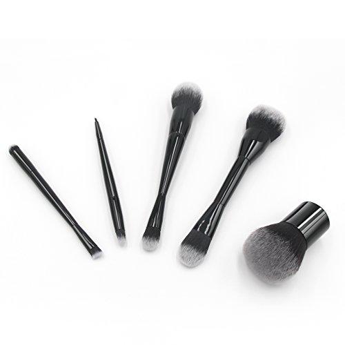Pinceaux de maquillage, Chenin Cosmétique Ensemble brosse métallique (Noir, 5 pièces)