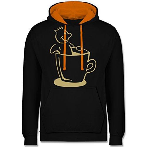 Küche - Kaffee König - Kontrast Hoodie Schwarz/Orange