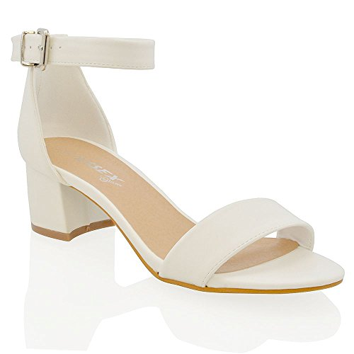 Essex Glam Sandalo Donna Sintetico Tacco Basso Bianco, ecopelle