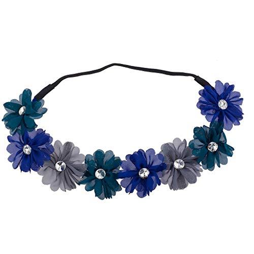 �n Blau Grau Kristall Stein Floral Elastic Headwrap Stirnband ()