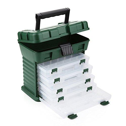gossipboy grün Multifunktions Tackle Box Lure Zubehörfach Hand Box Angeln Werkzeug Haken Kunstköder Wirbel Organizer Fall mit 4Schubladen & verstellbare Trennwände