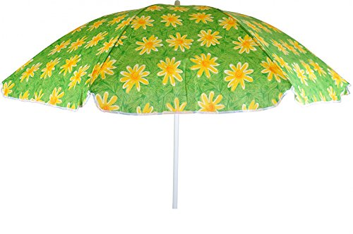 Baumwoll Sonnenschirm 160 cm diverse Farben Strandschirm Sonnenschutz Camping, Farben:grün m Blumen