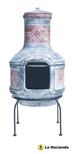 La Hacienda Large Geometric Chiminea and BBQ Blue Red with Grill Clay 67031