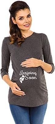 Zeta Ville - Camiseta Camisa Premamá estampado cuello redondo para mujer - 465c