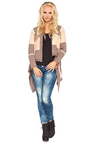 futuro fashion élégant chaude cardigan tricot hiver épais poncho avec boutons style Cascade acrylique Pull-over bloc de couleur Veste - TAILLE 8-14 UK MV176 Cappuccino