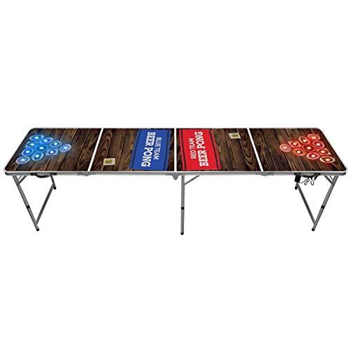 Original Cup Light Bier Pong Tisch, hell Pong Bier Tisch, Aluminium / Holz laminiert (braun / rot / blau, Standardgröße, faltbar)