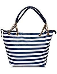 Urban Tramp Casual, Office Leather With Chain Standerd 43X16X50 Cms Blue And White Handbags