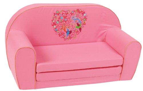 knorr-baby 430165 Kindersofa zum Ausklappen bird-flowers, rosa