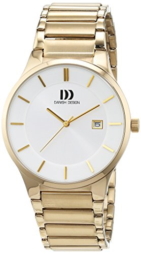 Danish Design Men's Quartz Watch with White Dial Analogue Display and gold Stainless Steel Bracelet DZ120456