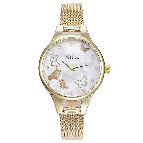 Armbanduhr Damen Ronamick MEIBO Damen Casual Quartz Edelstahl Butterfly Watch Analoge Armbanduhr Armband Uhr Uhren (Gold)