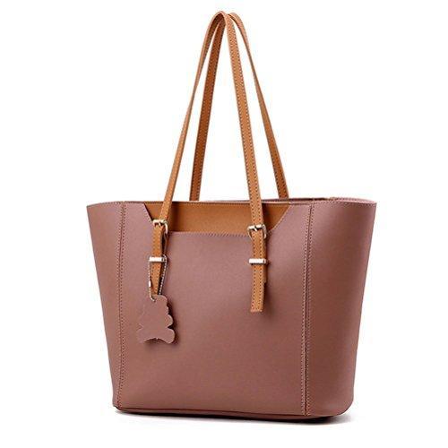 Honeymall Damen/Frauen PU Leder 2 teiliges Handtaschen Henkeltasche Schultertaschen Top-Griff Damen Große Tasche(Rot) Pink