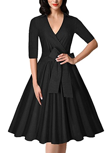 gigileer 1950er rockabilly damen kleid v neck swing kleider mit guertel abendkleid party. Black Bedroom Furniture Sets. Home Design Ideas