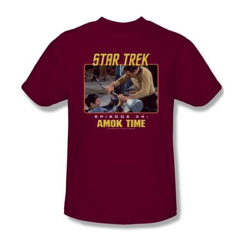St:Original - Amok Time - Erwachsene Kardinal-T-Shirt für Männer, Small, Cardinal (Erwachsene T-shirt S/s Cardinal)