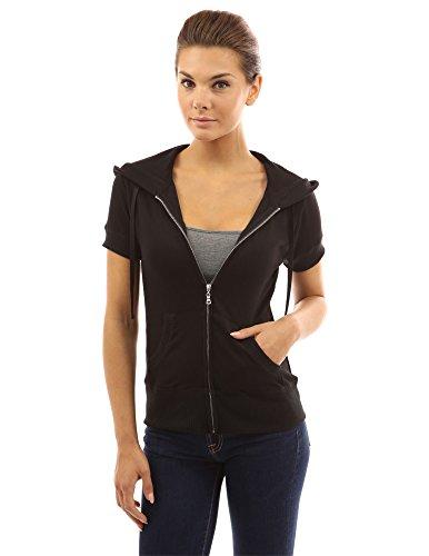 PattyBoutik Damen Kapuzenjacke mit Reißverschluss und kurzen Ärmeln (schwarz 36/S)
