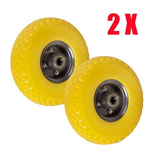 Miafamily PU 3.00-4 Roue de brouette universelle en caoutchouc PU sur jante en acier avec charge maximale 150 kg Ø 260 mm (jaune/gris)