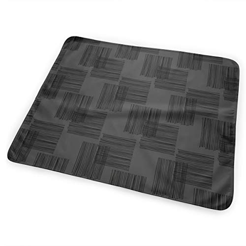 Black Ink Lines And Square Cubes Modern Mid Century Design Black Charcoal Bed Pad Washable Waterproof Urine Pads for Baby Toddler Children and Adults 31.5 X 25.5 inch Magic Line Square