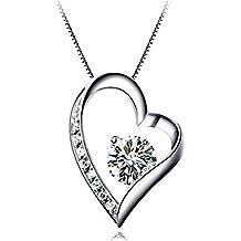 Collana in argento S925 Love - Collana con ciondolo a forma di cuore con zirconi by Bravetzx