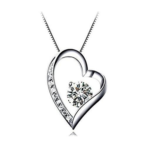 Kette Damen Halskette mit Herz Anhänger 925 Sterling Silber Zirkonia by bravetzx