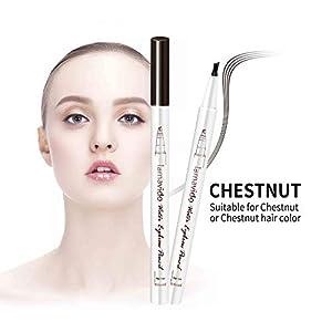 Rotulador líquido para cejas, lápiz de tatuaje 3D, microblading para cejas, 4 puntas de tenedor, maquillaje de ojos rubios líquidos, de larga duración, resistente al agua, a prueba de manchas y aspecto natural