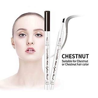 Wawhere – Lápiz de cejas líquido 3D, lápiz de tatuaje para cejas, 4 puntas de horquilla líquida para maquillaje de ojos, larga duración, impermeable, a prueba de manchas, aspecto natural