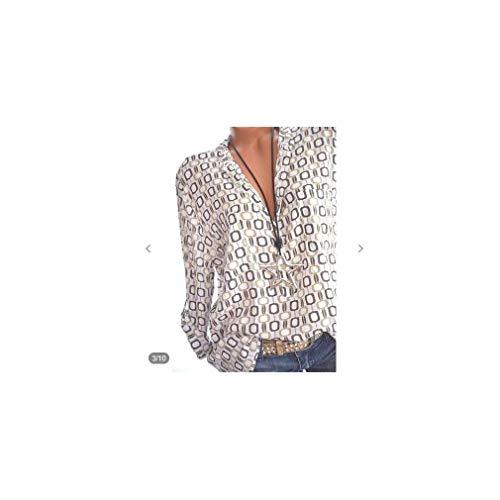 Plus Size Tops Women's Blouses Casual Loose Blusa Plaid Print Long Sleeve Chiffon Shirt -