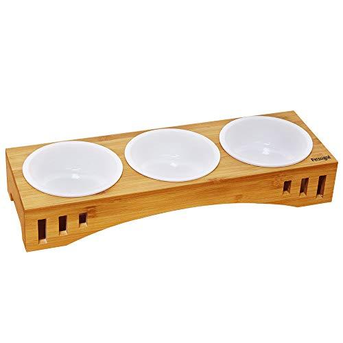 Petilleur Katzennäpfe Hundenäpfe Keramik Futternäpfe für Katzen und Welpe mit Bambus Ständer (3 Näpfe, Keramik)
