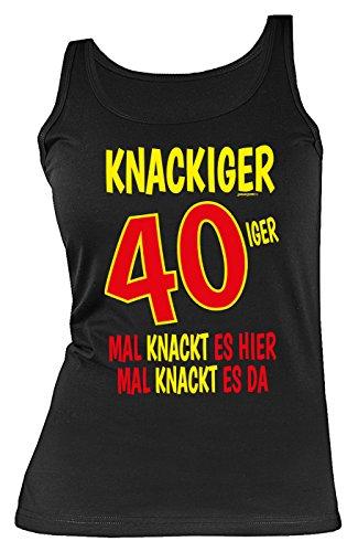 Damen Trägershirt 40 Geburtstag Frau - Geburtstagshirt Frau 40 Jahre : Knackiger 40iger Mal knackt es ... - Geschenk-Idee 40.Geburtstag Damen-Shirt Tank Top Gr: M