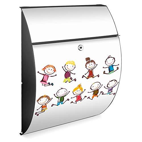 Burg Wächter Design Briefkasten | Modell Riviera 46cmx33,5cmx13cm groß | verzinkter Stahl Anthrazit | Postkasten mit Öffnungsstopp, großer A4 Einwurf, Zylinderschloss, 2 Schlüssel | Motiv Happy Kids