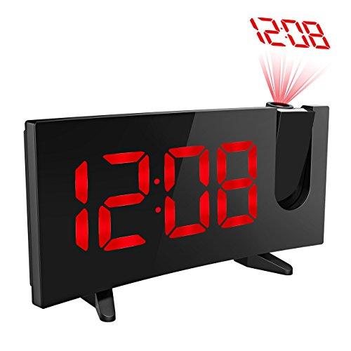 Holife FM Radio Reloj Despertador Digital de Proyección, Pantalla Curva LED Grande con Brillo Suave, Temporizador de Sueño y Alarmas Dobles con la Mejor Calidad de Sonido - Versión Mejorad