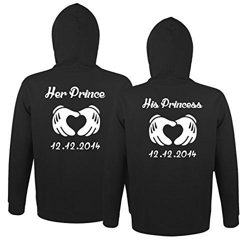 *SE-creation Damen und Herren Partner Pullover Set |Her Prince His Princess + Wunschdatum*