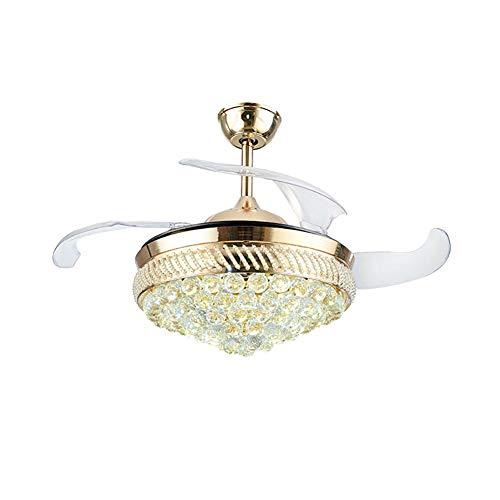 Clickkkkk Moderne kristall kronleuchter deckenventilator led deckenleuchte mit Fernbedienung einziehbare Klinge dimmbare Beleuchtung Fan Schlafzimmer Lampe kinderzimmer Wohnzimmer