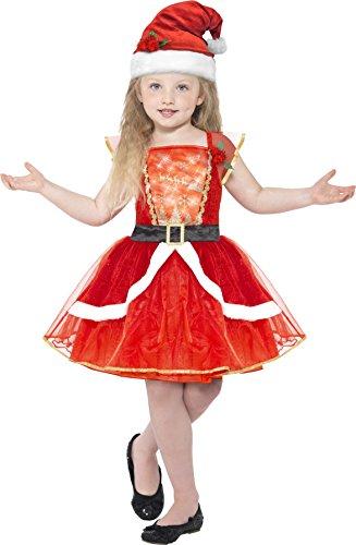 Smiffy's 21832M - Kinder Mädchen Miss Santa Kostüm, Alter 7-9 Jahre, One Size, (Kleid Santa Kinder)