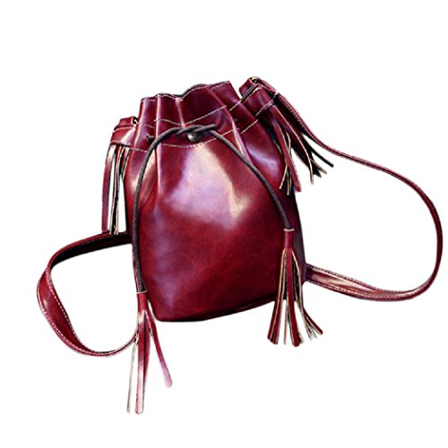 bolsos de las mujeres, FEITONG Nuevo bolso de la mujer Bolsa de hombro del mensajero de la borla Hobo del monedero del bolso de la taleguilla (rojo)
