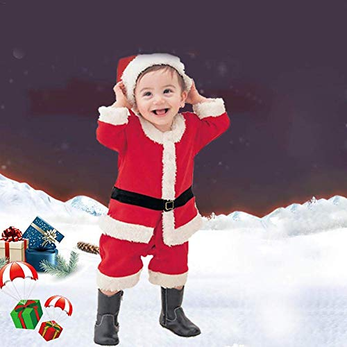 Coogel Boys Girls Santa Claus Costume - Children Christmas Play Dress Up Outfit Boys Costume Set Role Playing Clothes ()