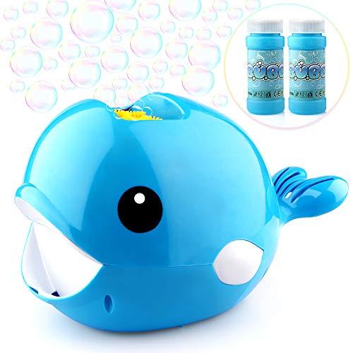 Baztoy Seifenblasenmaschine mit 2 Flüssigkeit für Kinder Junge Mädchen Seifenblasen Spielzeug Automatische Bubble Machine Maker mit 3000+ Bubbles Pro Minute Outdoor Geschenk für Garten Party Hochzeit