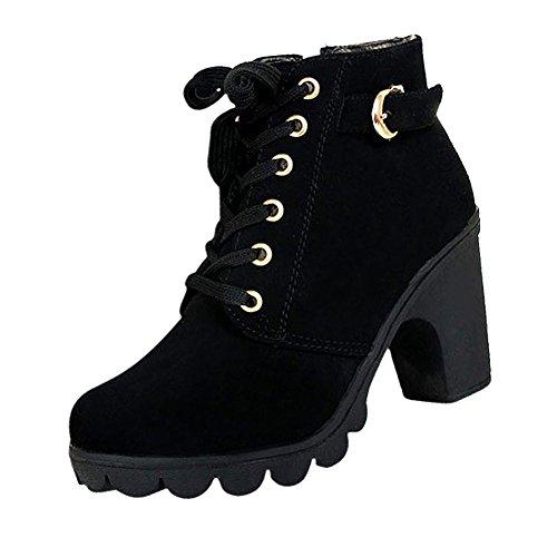 SODIAL(R)Frauen Plattform hoher Absatz einzelne Schuhe vintage Motorrad Stiefel Martin Stiefel Schwarz US6 (37) (Service-stiefel)