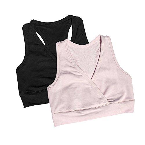 Kindred Bravely Soft French Terry Nursing Sleep Bra for Maternity / Breastfeeding (Large, 2 Pack, Black/Pink)