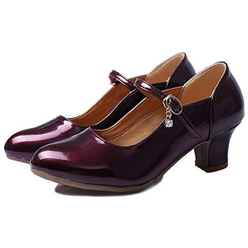 Oasap Femme Mode Chaussure Danser Boucle Talons Bloc purple