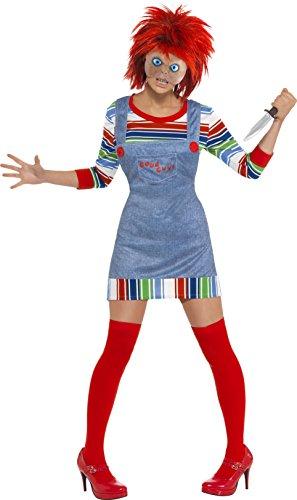 Verrückten Und Kostüm Wilden Halloween (Smiffy's - Chucky die Mörderpuppe Kostüm Halloween Horror Alptraum Chucky 2)