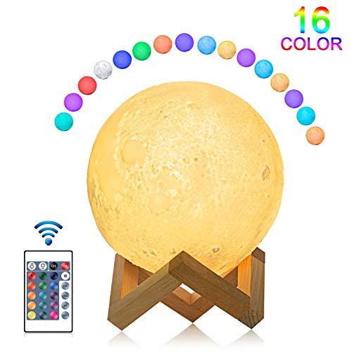 Luna Lampada 3D, JOLVVN LED Luce Lunare Notturna USB Moon Light Dimmerabile Toccare Controllo Globo Telecomando Bambini Regali Compleanno Natale 16 Colori 15cm Batteria Ricaricabile 500mAH