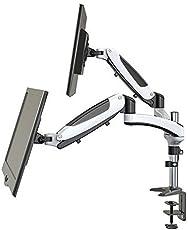 Monitor Halterung - 2 Monitore Tischhalterung Gasdruckfeder - Bildschirmständer Ergonomisch Höhenverstellbar Schwenkbar Neigbar (15-27 zoll/ Gasdruckfeder/ Weiß)