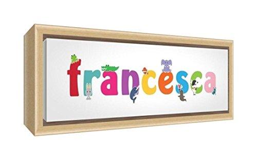 Feel Good Art gerahmt Box Leinwand, die Solide natur Holz Surround in den Namen Cute illustrativen Design Girl (34x 88x 3cm, groß, Francesca) -