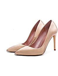 GAIHU Schuhe 6 cm Champagner frische High Heels Spitzen Fein mit flachen Mund echte Seide Satin