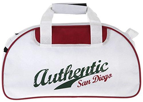 """Sporttasche """"Authentic"""" 45x24x23 cm Trageriemen Reißverschluss Tragegurt (weiß + grün) weiß + grün"""