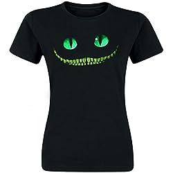 Alicia en el país de las maravillas - camiseta del gato de Cheshire - mujer - de la película de Tim Burton - ajustada - negra - S